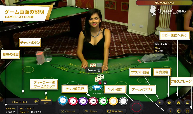 LIVE CASINO RENO BLACKJACK-ライブカジノリーノ ブラックジャック ゲーム画面説明