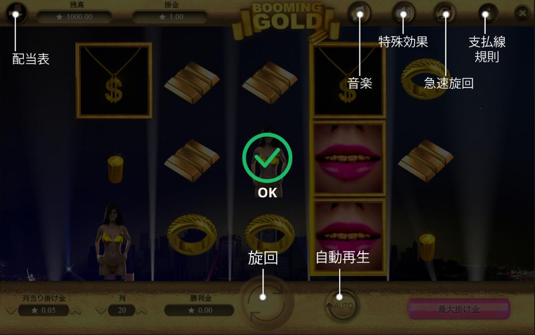 Booming Gold – ブーミングゴールド – ゲーム画面説明