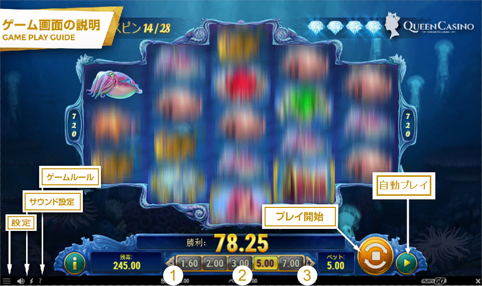 Mermaid's Diamond  – マーメイド・ダイヤモンド ゲーム画面説明
