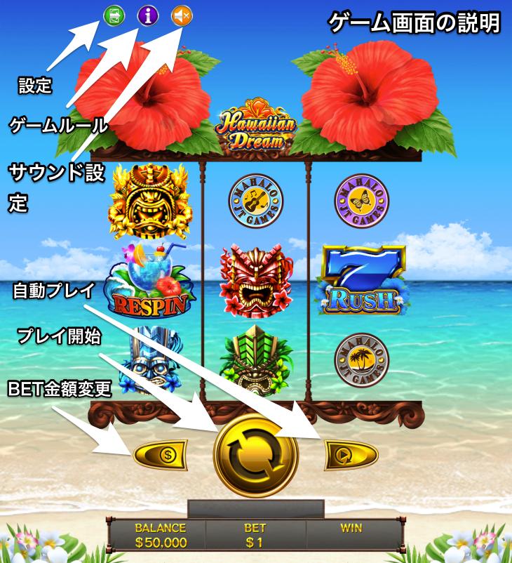 Hawaiian Dream-ハワイアンドリーム ゲーム画面説明