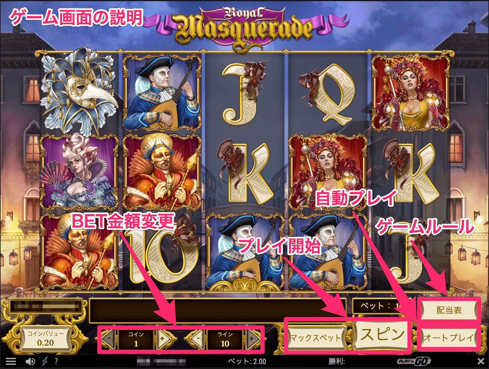 Royal Masquerade-ロイヤルマスカレード ゲーム画面説明