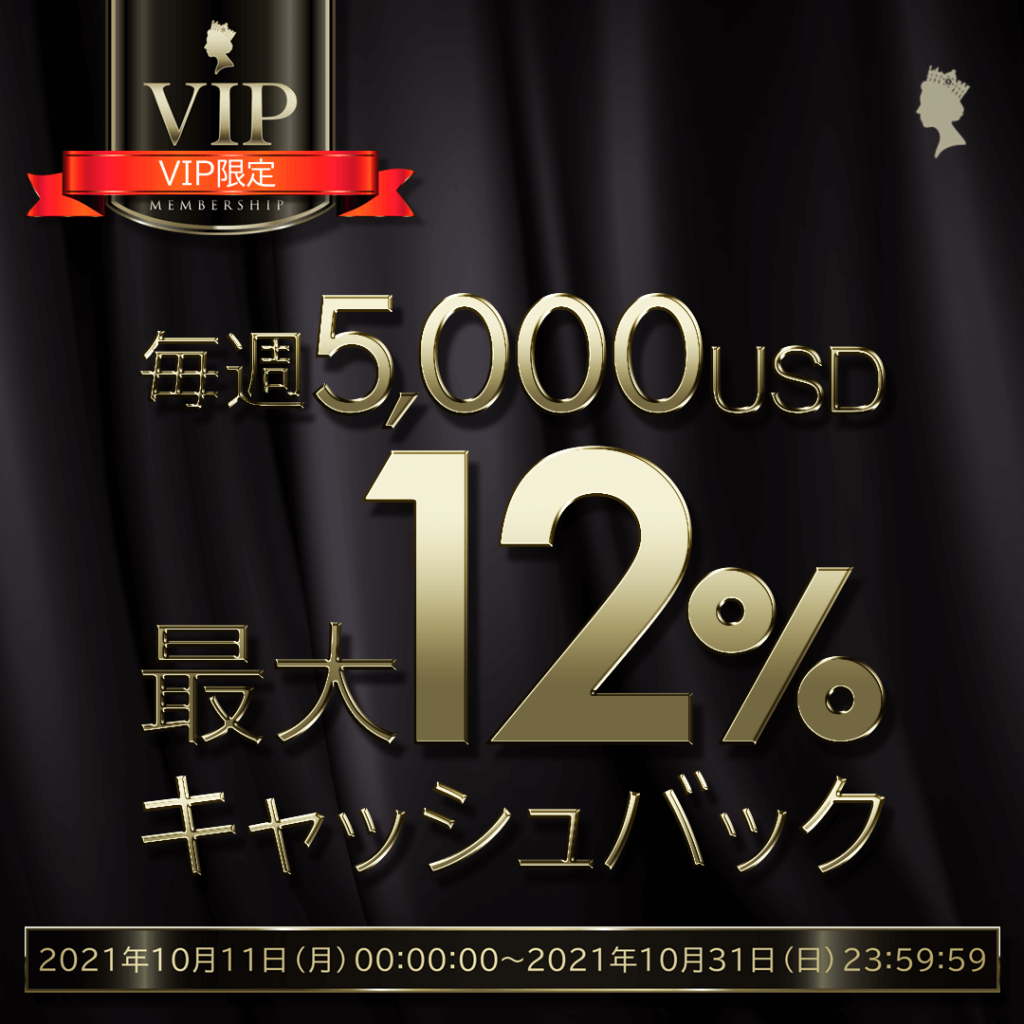 VIP限定・キャッシュバック12%キャンペーン